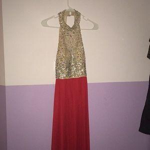 RED JEWELED PROM DRESS